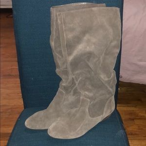 Gianni Bini grey suede leather boots sz 10